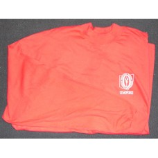 Fleming's red t-shirt with OHSAA umpire logo
